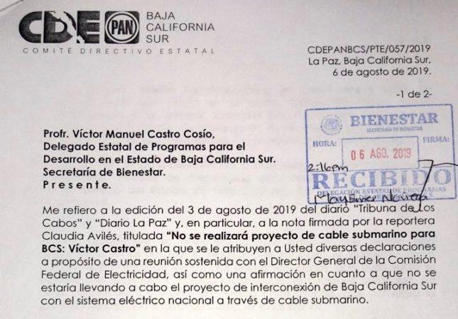EXIGE ACCIÓN NACIONAL EXPLICACIÓN ANTE SUPUESTA CANCELACIÓN DEL CABLE SUBMARINO DE LA CFE
